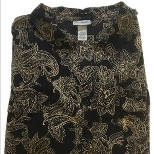 Catherine's Button Front Shirt 5X 34/36W Paisley